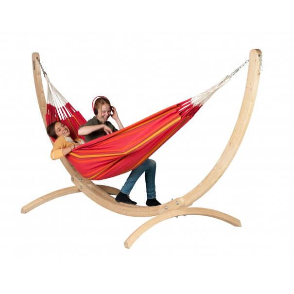 h ngematte currambera cherry mit holz st nder. Black Bedroom Furniture Sets. Home Design Ideas
